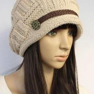 Beige Slouchy knitted Hat Cap Beani..