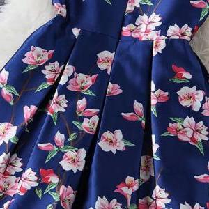 Blue Sleeveless Floral Printed Sati..