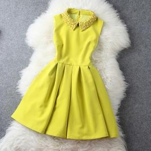 Yellow Dress with Pearl Beaded Coll..