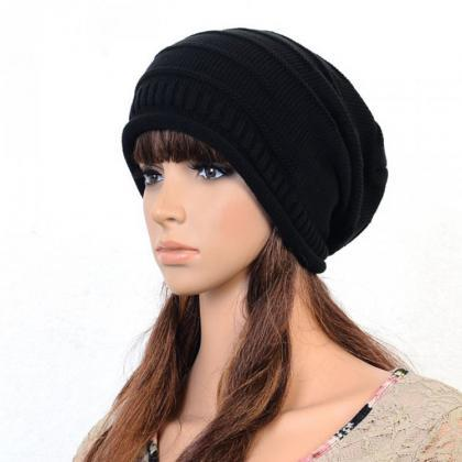 Black Slouchy Knitted Hat Cap Bonni..