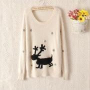 Pullover Sweater with Deer Print
