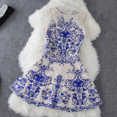 Embroidered Dress in Blue and White