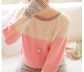 Pink Cable Sweater w..