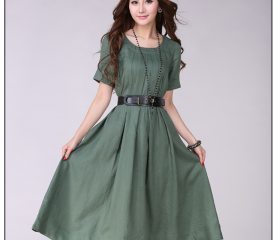 Belted Linen Dress p..