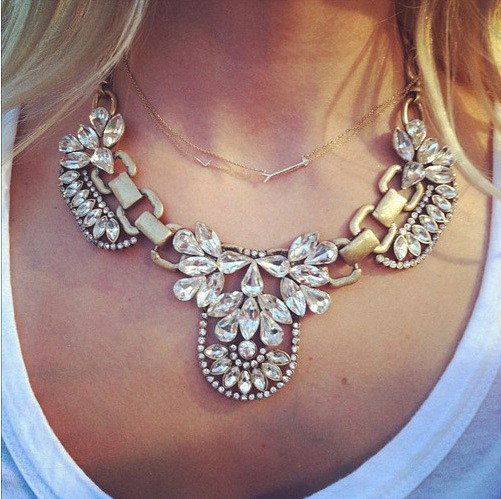 Luxurious Crystal and Rhinestone Floral Bib Statement Necklace