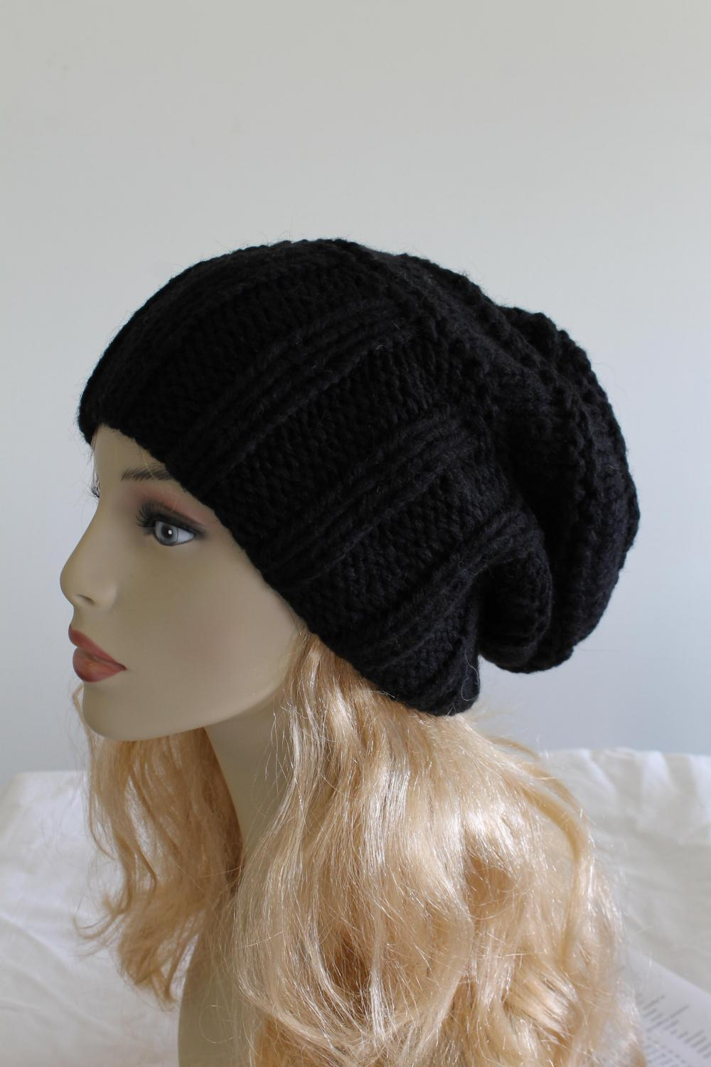 8c7dc6574d8 Slouchy Woman Handmade Knitted Hat Black Clothing Cap on Luulla
