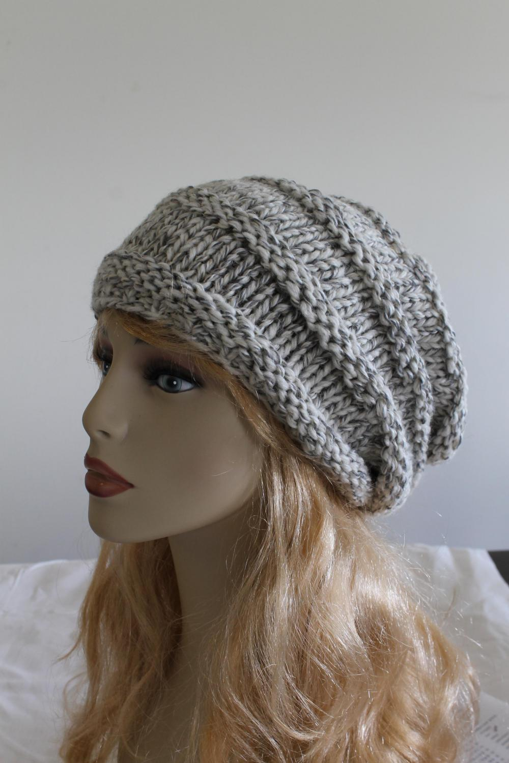 Slouchy woman handmade knitted hat oat clothing cap