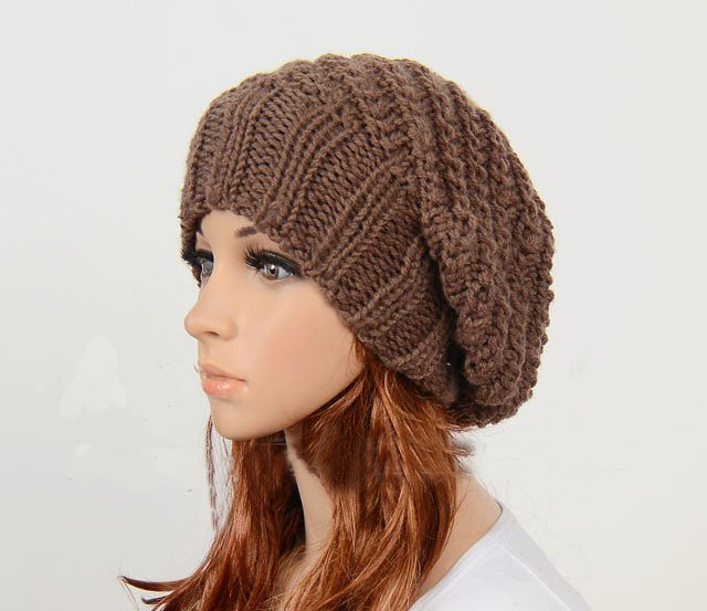 Slouchy woman handmade knitted hat clothing cap brown