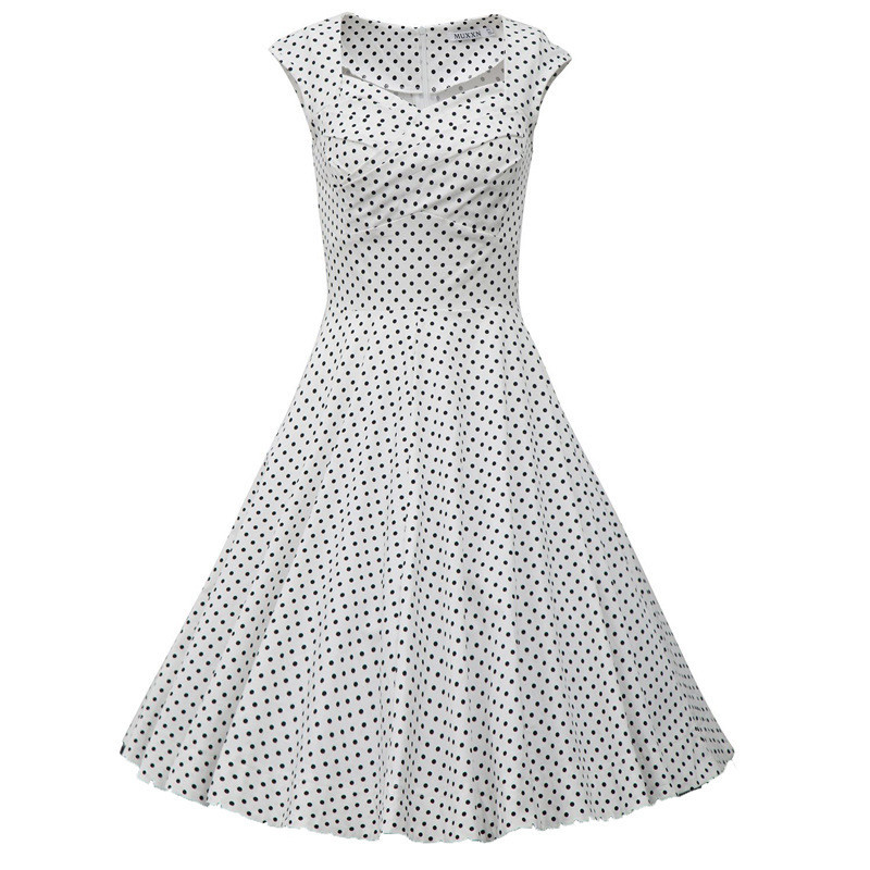 White Polka Dot Vintage Dress