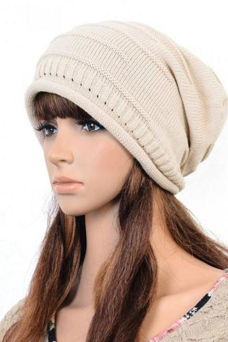 Beige Slouchy Knitted Hat Cap Bonnie