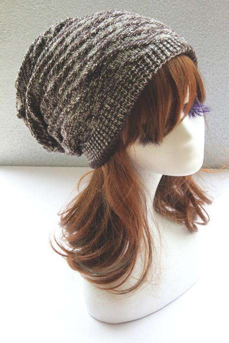 Brown Double Side Slouchy Knitted Hat Cap Bonnie