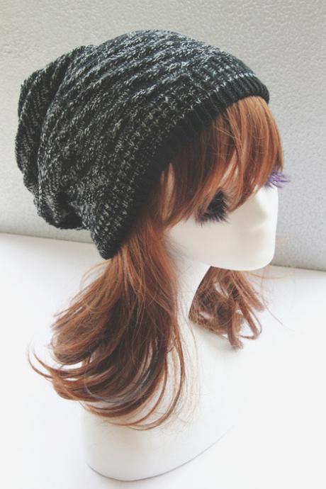 Black Double Side Slouchy Knitted Hat Cap Bonnie