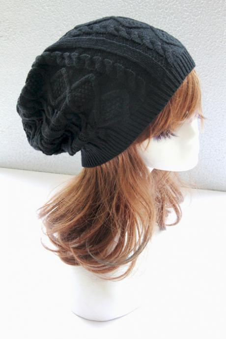 Black Cabled Knitted Hat Cap Bonnie