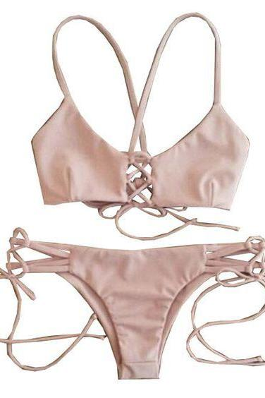 Pink Swimming Bathing Suite Bikini Set Top and Bottom