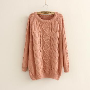 Casual Cabled Pullover Sweaters Fleece in Pink
