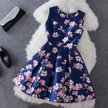 Blue Sleeveless Floral Printed Satin Dress