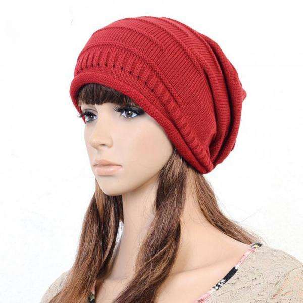 Red Slouchy Knitted Hat Cap Bonnie