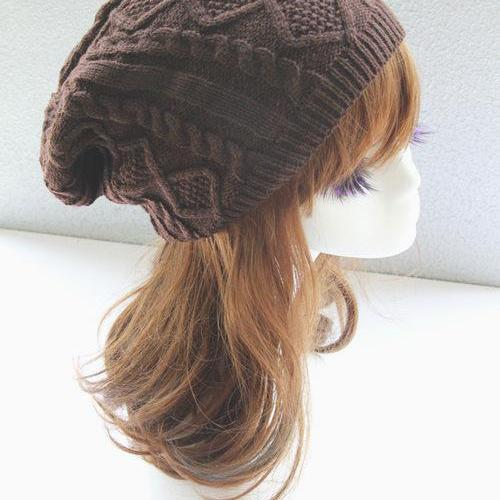 Brown Cabled Knitted Hat Cap Bonnie