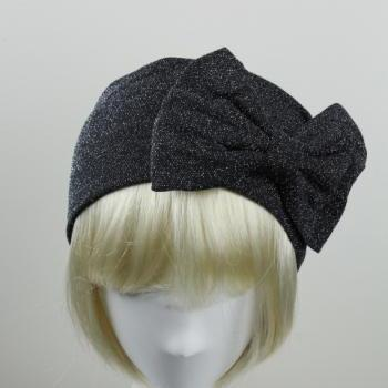Woman handmade velvet turban headband head warmer with bow hat cap dark grey