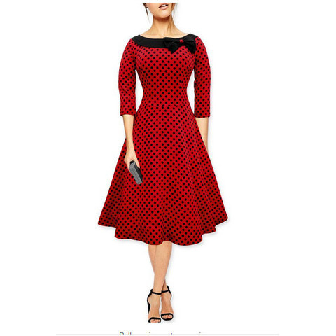 Red Long Sleeve Polka Dot Vintage Dress with Bow