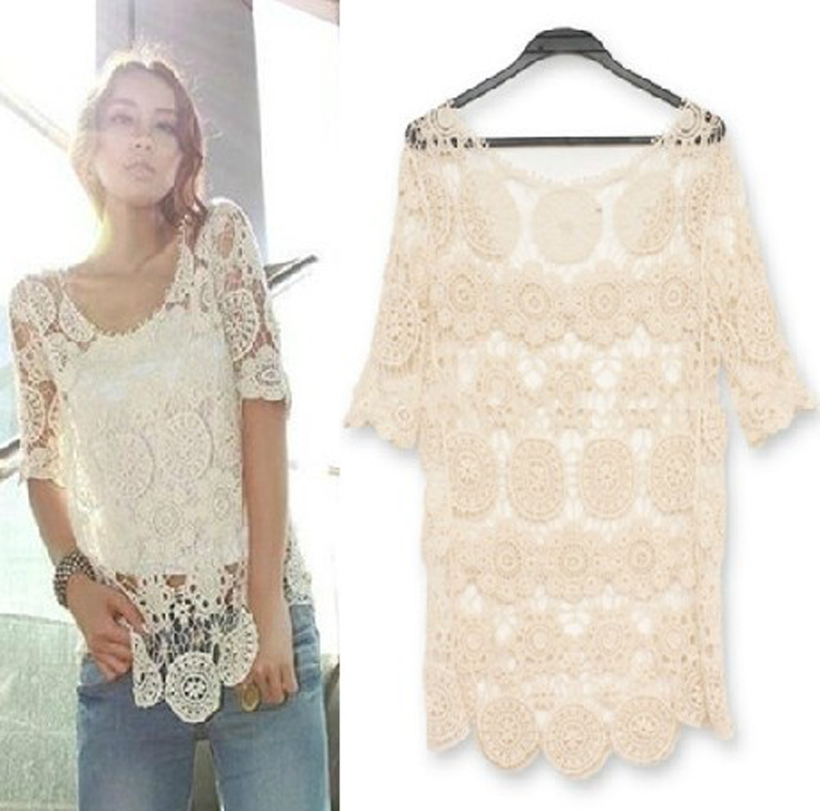 Lace Crochet Top In Beige On Luulla